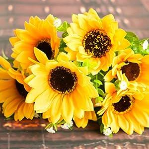 Artificial Sunflower Flowers,Vivid Artificial Flowers with Long Stem for Flower Arrangement Home Office Wedding Decoration 45