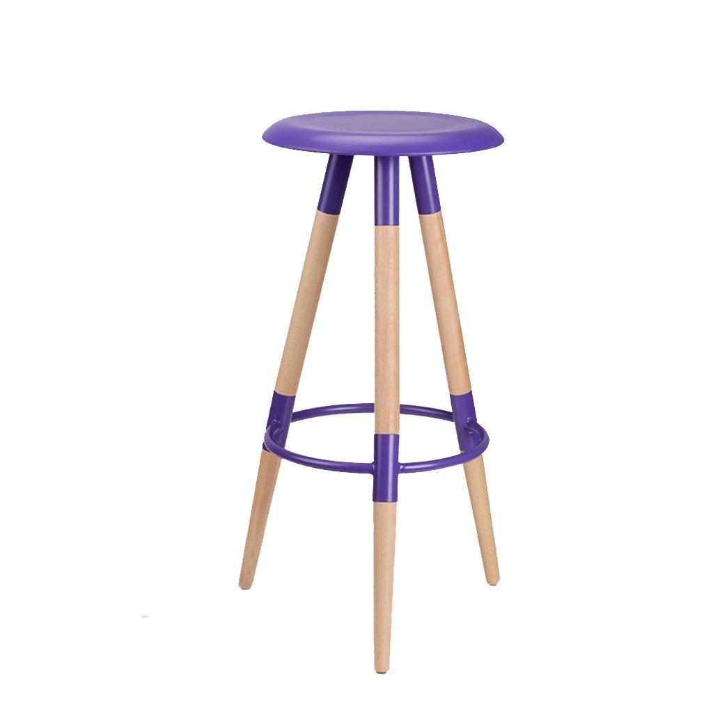 木製のバーチェアバースツールハイスツールシンプルでスタイリッシュなチェアバーチェアフットレスト3色オプション (色 : Crystal violet) B07DN54WC1Crystal violet