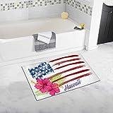 InterestPrint Hawaii Flag Pink Hibiscus Flowers on Grunge Usa Flag 20'' X 32'' Soft Shaggy Bath Mat Non-slip Rubber Bathroom Rug Floor Mats