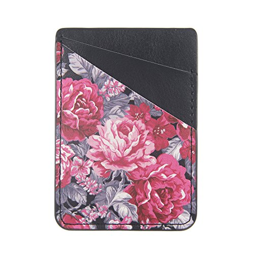 uCOLOR Phone Card Holder Sleeves Vintage Floral PU Leather Wallet Pocket Credit Card ID Case Pouch 3M Adhesive Sticker on Compatible with iPhone Samsung Galaxy Android Smartphones