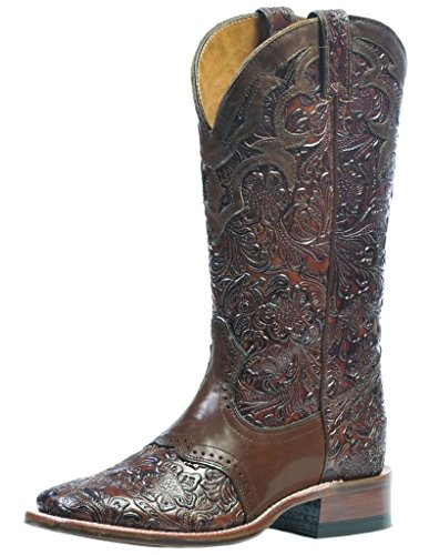 Boulet Women's Hand Tooled Ranger Cowgirl Boot Square Toe Chestnut 8 W US Brown