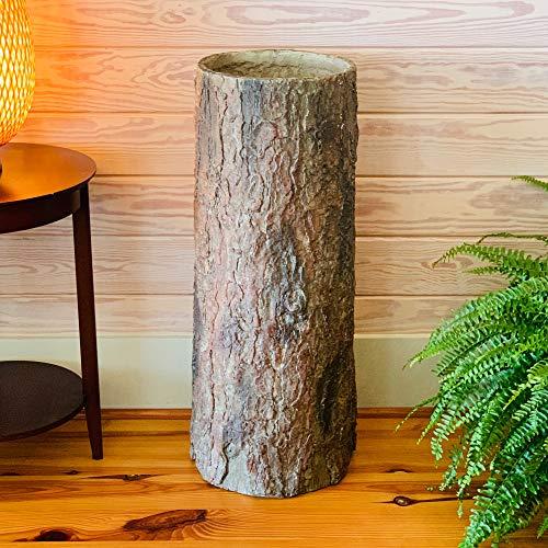 Country Corner  Vintage Farmhouse Tree Stump Garbage Bin. Unique Rustic Indoor Heavy Cement Resin Log Garbage Can.