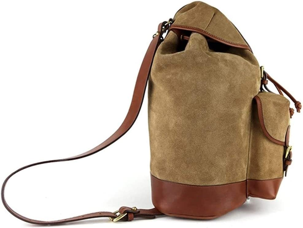 Color : Khaki, Size : S Lydianzishangwu Suede Laptop Bag with Front Pocket Red Brown Real Leather Belt Cycling Rucksack