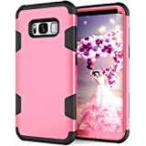 Galaxy S8 Shockproof Case,HuiFlying Hybrid Hard PC+Soft Silicone Rugged Bumper Impact Resistant Heavy Full Body Shockproof Anti Slip Protective Case for Samsung Galaxy S8 (Rose/Black)