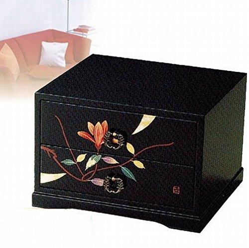 会津漆器 タンス 黒 三ツ引タンス 華もくれん (手描) 木材繊維(MDF)製 カシュー塗装 18-26-9 B01I8SKQB8