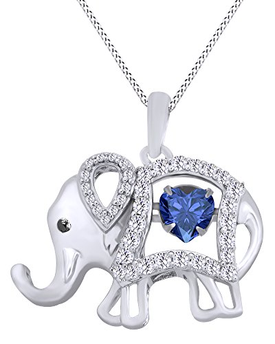 (AFFY Round Cut Cubic Zirconia Elephant Floater Pendant Necklace in 14K White Gold Over Sterling)