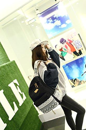 Cute Hitop Chicas Jóvenes Mochila Adolescentes Negro Fashion Geometría Lienzo Mochilas Ligero Casual Lunares Bolsa Para 0T0O74