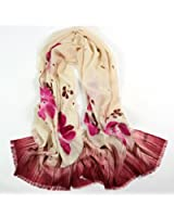 Olina Women's High-Grade Elegant Hand Painted 100% Pure Wool Scarf Shawl