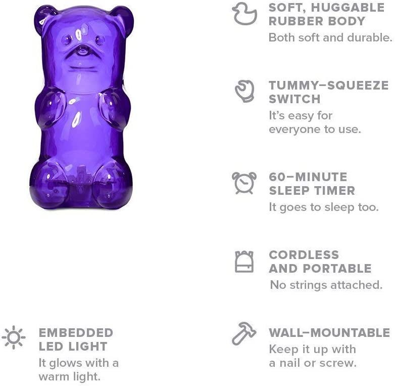 Toddlers Perfect Gift Babies Gummygoods Squeezable Gummy Bear Night Light for Kids with 60 Minute Sleep Timer Pink Portable and Cordless