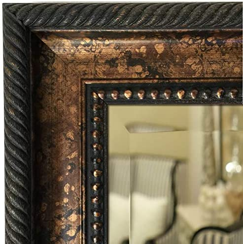 West Frames Santino Bathroom Vanity Rectangle Framed Wall Mirror Bronze Black, 28.25 x 34.25