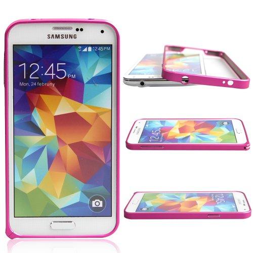 S5 Case, Boriyuan Hot Sale Luxury Ultra Thin Metal Aluminium Alloy Frame Bumper Case for Samsung Galaxy S5 GS 5 V I9600 Smartphone (Hot Pink)