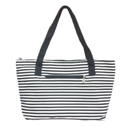 Zipper Canvas Tote Bag with Coin Pouch - Black & White Stripes Pattern (Stripe Tote White)