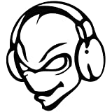 Alien Disc Jockey DJ - Cartoon Decal [15cm Black] Vinyl Removable Decorative Sticker for Wall, Car, Ipad, Macbook, Laptop, Bike, Helmet, Appliance, Instrument, Motorcycle, Suitcase