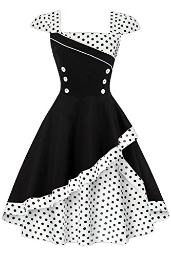 Babyonlinedress Vintage 1950s Polka Dot Swing Prom Dresses Cap-Sleeve (Black+White Dot,L)