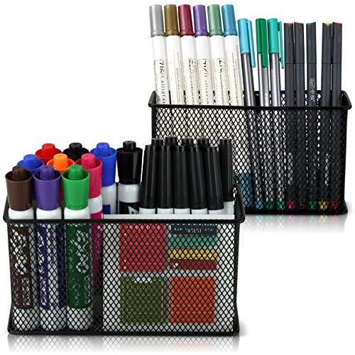 Large Magnetic Locker Organizer Set of 2 - Mesh Pencil Holder Baskets with Extra Strong Magnets - Perfect Marker and Pen Storage Holds Securely Your Whiteboard and Locker Accessories (Magnetic Board Accessories)