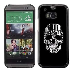 """For HTC One ( M8 ) Case , Hermosa Sinner San Cráneo Negro Blanco"""" - Diseño Patrón Teléfono Caso Cubierta Case Bumper Duro Protección Case Cover Funda"""