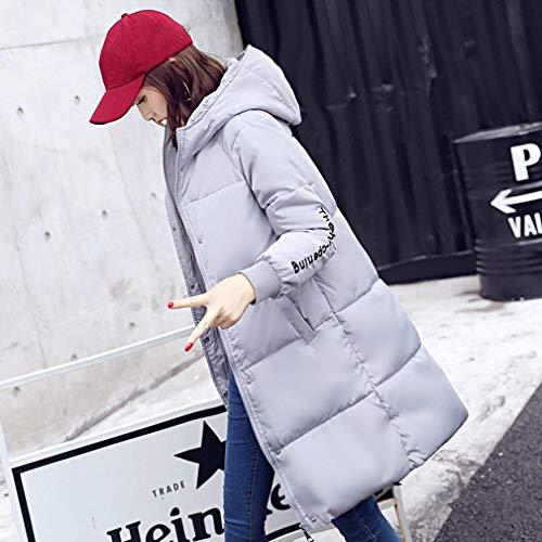 Giovane Pulsante Piumini Grau Tasche Cappotti Monocromo Donna Laterali Cerniera Moda Con Lunga Manica Cappuccio Giacca Calda Giubotto Invernali ngn8FPA