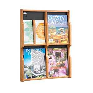 Safco Products 5703MO Expose Literature Display, 6 Magazine 12 Pamphlet, Medium Oak/Black