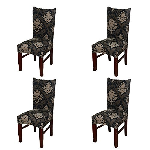 SoulFeel 4 x Soft Spandex Fit Stretch Short Dining Room Chair Covers with Printed Pattern, Banquet Chair Seat Protector Slipcover for Home Party Hotel Wedding Ceremony (Style 13)