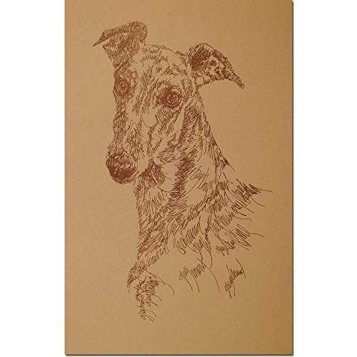 Stephen Kline Greyhound (Brown Ink) Personalized Lithograph