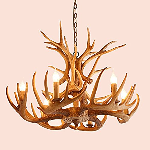 Antler Lighting (KunMai Cottage Faux Deer Antler Resin Branch Chandelier with 2-Tier Decorative Antlers Candle-style Fixture (4-Light))