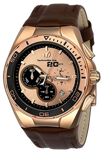 Technomarine Men's 'Cruise' Quartz Stainless Steel and Leather Casual Watch Color:Brown (Model: TM-116001) [並行輸入品] B078BB8DR3