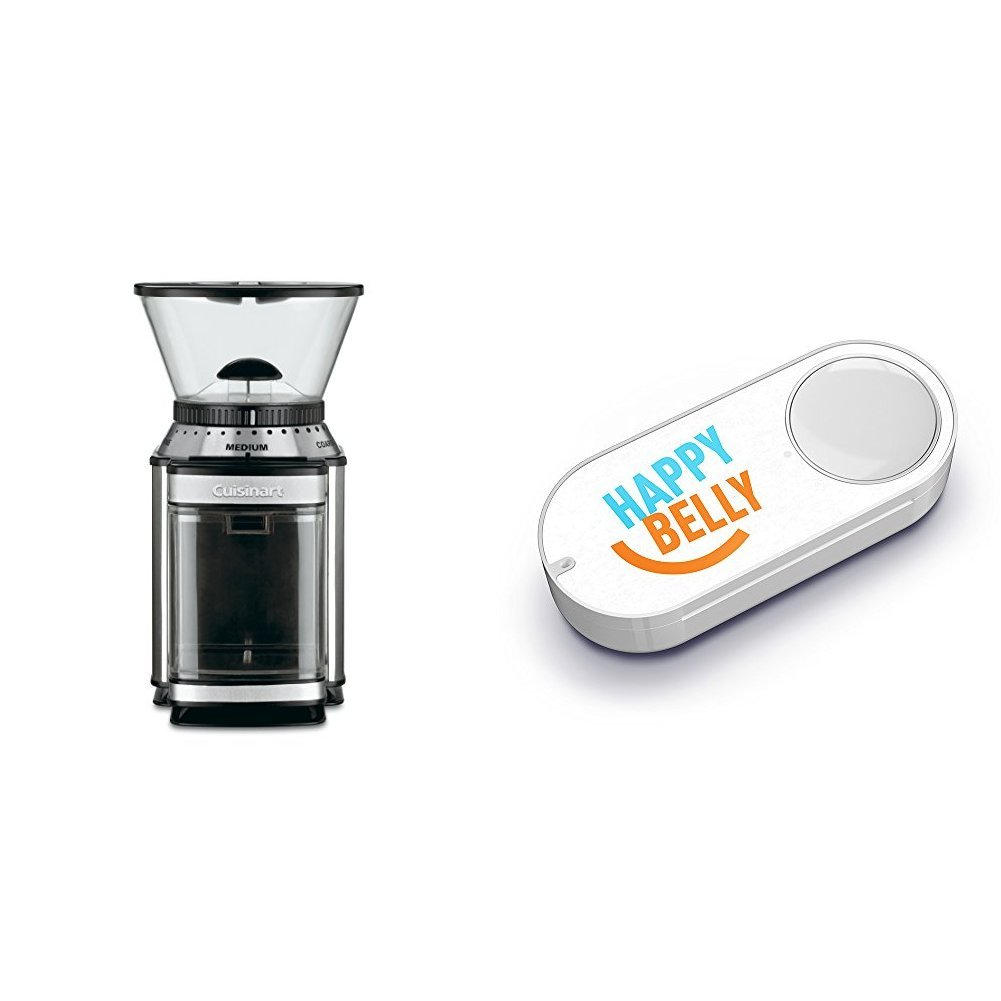 Cuisinart DBM-8AMZ Supreme Grind Automatic Burr Mill, Stainless Steel & Happy Belly Dash Button
