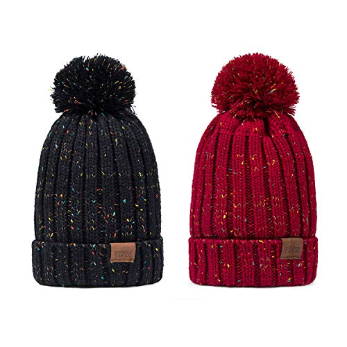 Ski Knit Hat Beanie (REDESS Women Winter Pom Pom Beanie Hat with Warm Fleece Lined, Thick Slouchy Snow Knit Skull Ski Cap (Two Pack A Confetti Black&Wine Red Design))