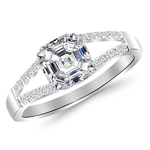 1.65 Ctw 14K White Gold GIA Certified Asscher Cut Curving Split Shank Diamond Engagement Ring , 1.5 Ct G-H VS1-VS2 Center