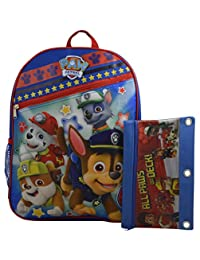 """Nickelodeon Paw Patrol Kid's 15"""" School Backpack Travel Bag w/ Bonus Pencil Case"""