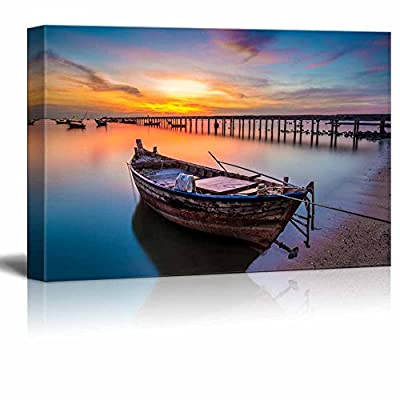 Beautiful Scenery Landscape Sunset on The Sea with a Boat at Bangpra Beach Chonburi Thailand - Canvas Art Wall Art - 24