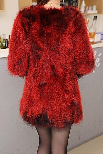 Helan Mujeres Escudo larga verdadera piel del mapache Vino rojo
