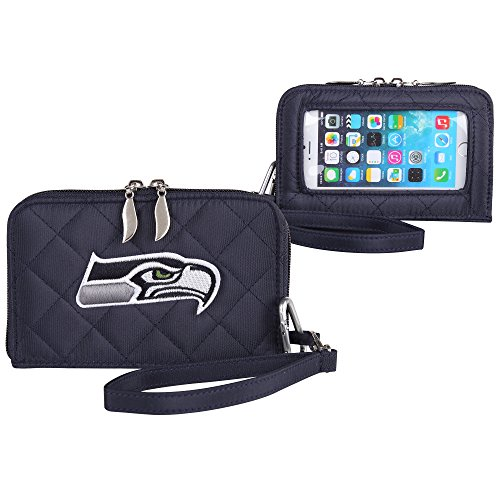 NFL Seattle Seahawks Womens Quilted Cell Phone Wallet with Embroidered Logo by Little Earth