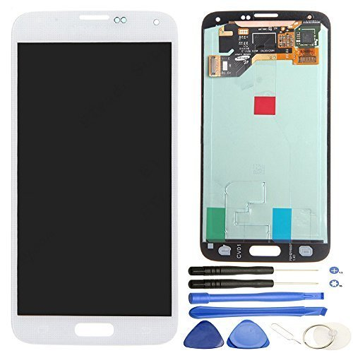 Comfine Original OEM Replacement for Samsung Galaxy S5 LCD Display Screen + Touch Digitizer Assembly, for G900 G900A G900P G900T G900V G900R4 G900F, Repair Tools + Samsung Logo, White