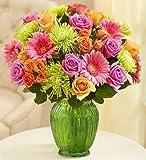Flowers: Vibrant Blooms Bouquet Double Bouquet with Green Vase by 1-800 Flowers- Flower Arrangements