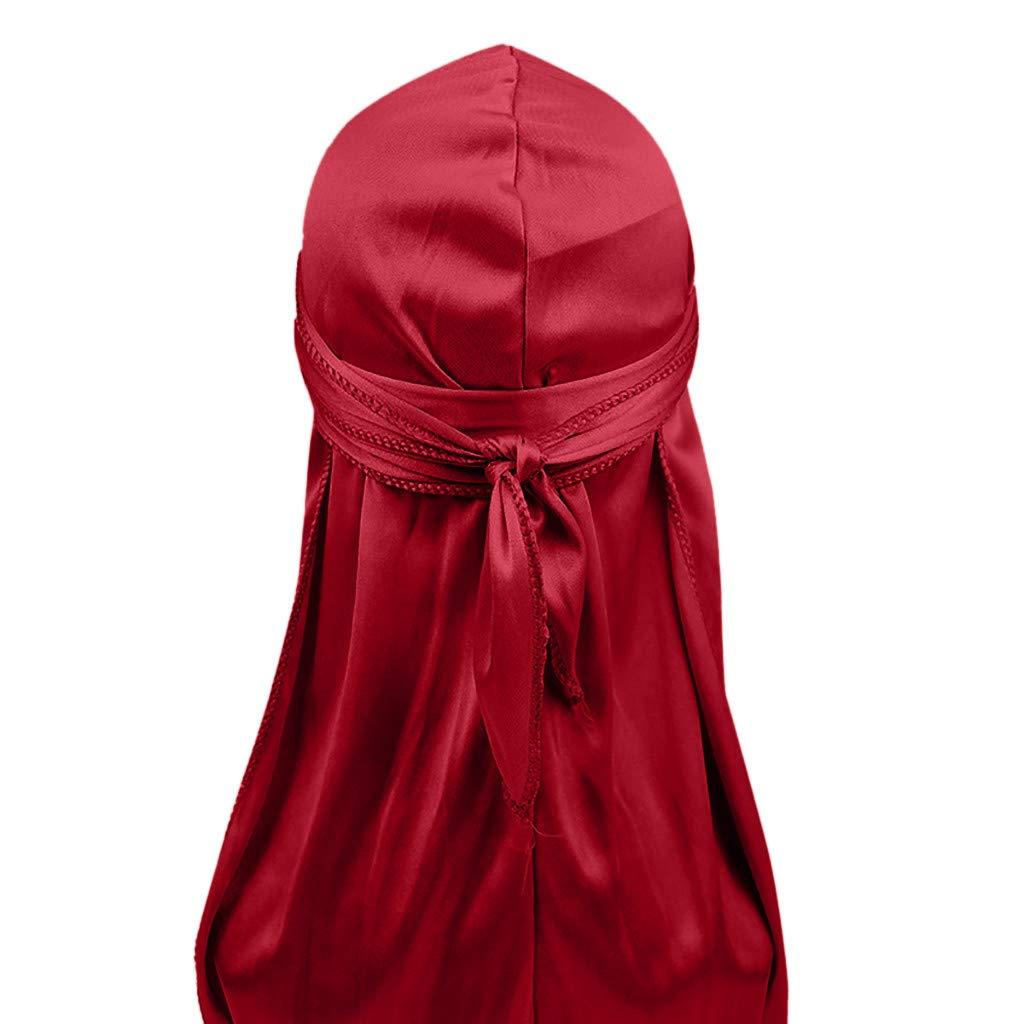 Unisex Silky Head Wraps Extra Long-Tail Wide Straps Du-Rag Breathable Sweat Wicking Beanie Turbans African Headwear (Wine)