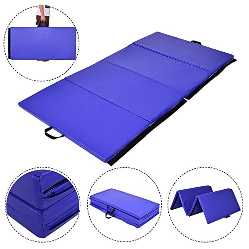 Exercise Gym Mat Blue 4'x8'x2 Portable Gymnastics Mat Thick Folding Panel Gym Fitness with Ebook
