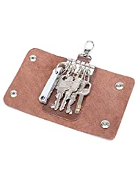 MuLier Full-grain Genuine Leather Car Remote Key Case Leather House Key Holder with 5 Stainless Key Hooks (Brown)