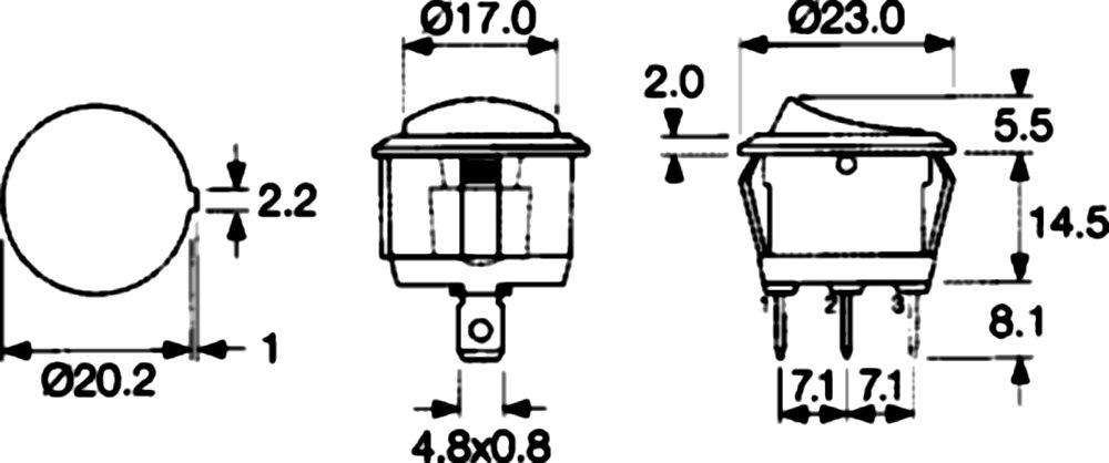 AERZETIX Interrupteur commutateur contacteur bouton /à bascule SPDT ON-ON 6A//250V 20A//12V 2 positions
