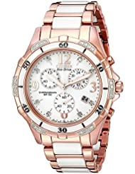 Citizen Womens Eco-Drive Rose-Gold Tone Chronograph Watch with Diamond Accents, FB1233-51A
