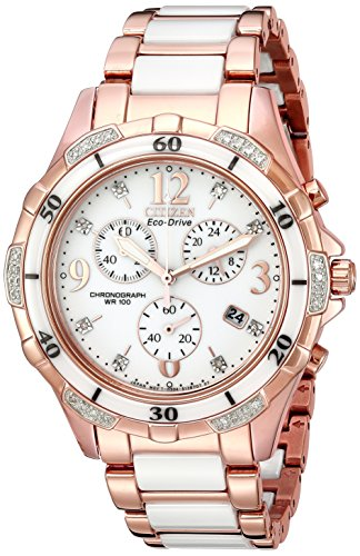 Citizen Women's Eco-Drive Rose-Gold Tone Chronograph Watch with Diamond Accents, FB1233-51A