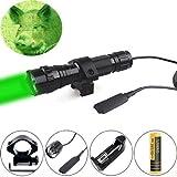 Ulako Lumière verte LED Coyote Porc Porc Varmint Predator Lampe de poche de chasse avec interrupteur de pression à distance
