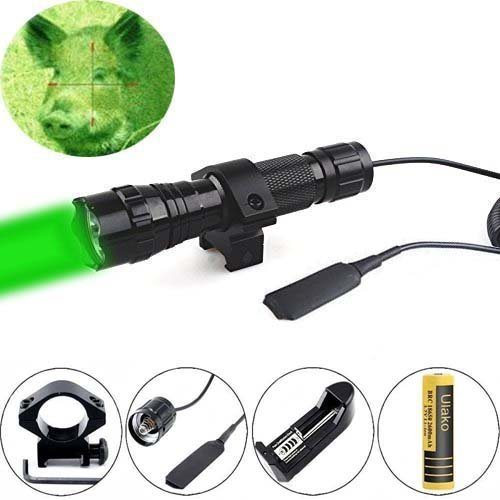 Ulako Green light LED Coyote Hog Pig Varmint Predator Hunting Light Flashlight with Remote Pressure Switch (Green Flashlight Mount)