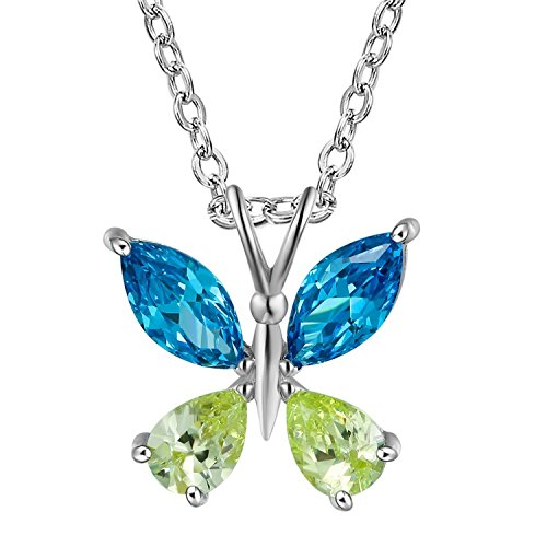 - GuqiGuli Sterling Silver Created Blue Topaz and Peridot Butterfly Pendant Necklace, 18''