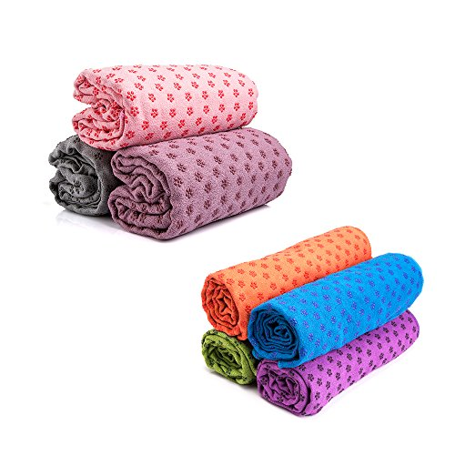 Mansov Yoga Towel, Pilates Camping Outdoor Towel, For Bikram, Hot Yoga, Fitness, Exercise. Anti-Slip, Ultra Absorbent, Machine Washable Microfiber, Plum Point Design, Carrying Mesh Bag, Green