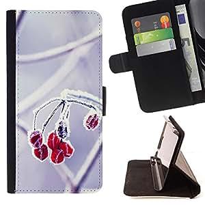 BullDog Case - FOR/Sony Xperia Z1 L39 / - / Fruit Macro Frosted Fruit /- Monedero de cuero de la PU Llevar cubierta de la caja con el ID Credit Card Slots Flip funda de cuer