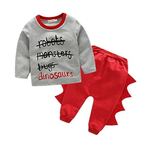 Baby Boys Long Sleeve Clothing Outfit Cartoon Dinosaur T-Shirt and Pants Set
