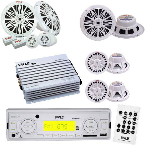 "Pyle Marine Stereo, Radio Receiver, Speaker, Subwoofer and Amplifier Package - PLMR88W AM/FM-MPX IN-Dash Marine MP3 Player/USB & SD Card Function - PLMRA400 4 Channel 400 Watt Waterproof Marine Amplifier - PLMR62 200 Watts 6.5'' 2 Way White Marine Speakers - PLMR6K 200 Watts 6.5'' 2-Way Marine Component System - PLMRW8 8"" 400 Watt White 4 Ohm Marine Subwoofer primary"