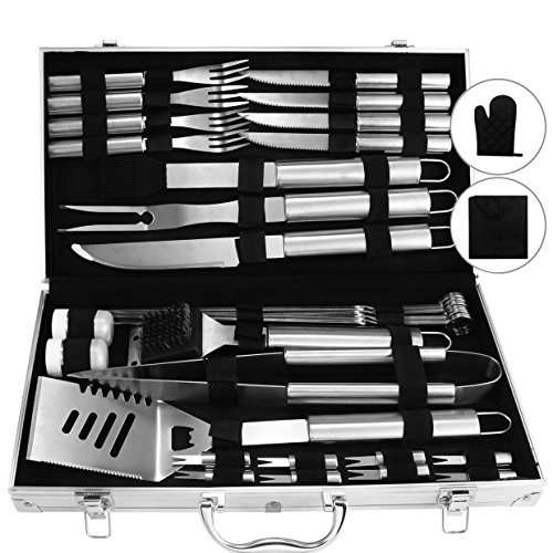 Doatry BBQ Grill Tools Set with 33 Barbecue Accessories - Stainless Steel Utensils with Aluminium Case - Complete Outdoor Grilling Kit for Family,Friend & Company