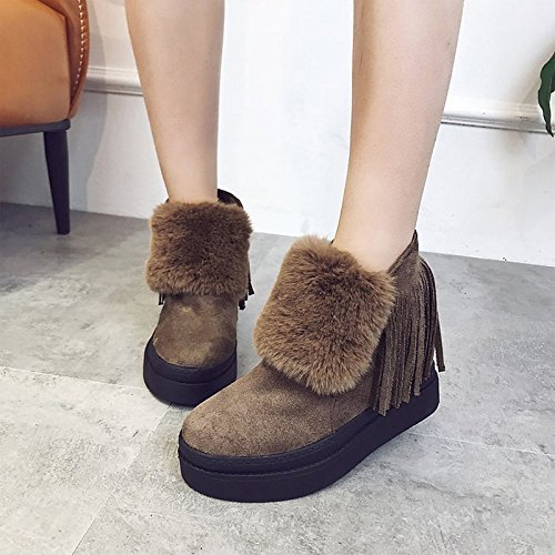 leather Round HSXZ Creepers Spring Winter Boots Closed Shoes Toe Bootie Ankle Toe Casual Khaki for ZHZNVX Booties Women's Boots Nubuck Boots Fleece Snow fIwxqIOd7W